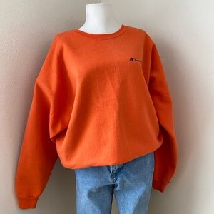 Vintage Champion Orange Spell-Out Crewneck